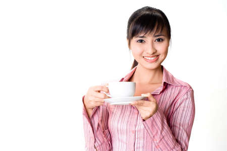 asian businesswoman drinking a cup of tea Stock Photo