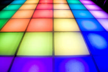 dance floor: colorful square shape lighting of disco dance floor