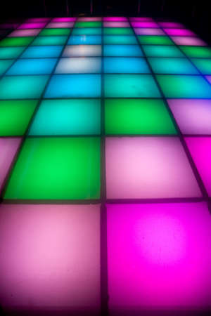 colorful square shape lighting of disco dance floor