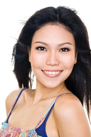Happy smiling asian young woman face expression