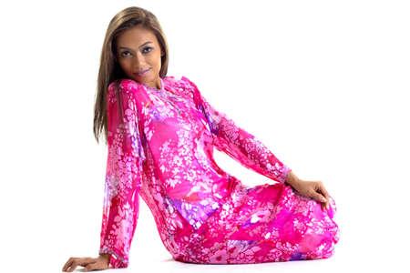 young woman in traditional malay dress baju kurung Standard-Bild
