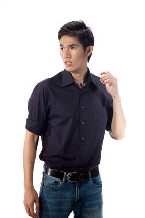 expressive young handsome man in smart casual wear Stock Photo - 4803086