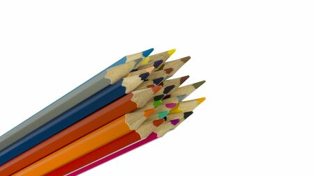 coloured pencils: many coloured pencils withisolated background Stock Photo