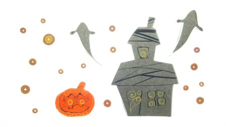 haunted house: halloween pumpkin isolated in white background Stock Photo