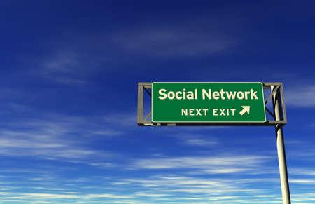 Social Network next exit Freeway Sign photo