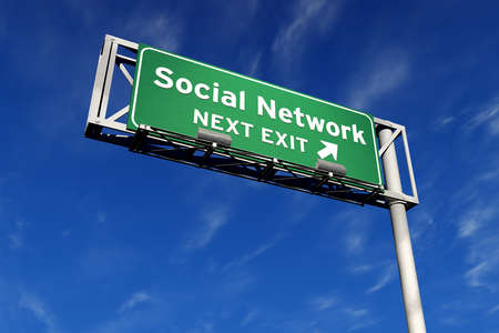 Social Network next exit Freeway Sign