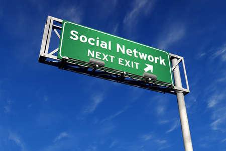 Social Network volgende afrit snelweg Aanmelden Stockfoto