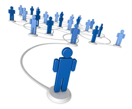 connection: Icon people linked by communication lines that start from one red person out in front of the crowd. Stock Photo