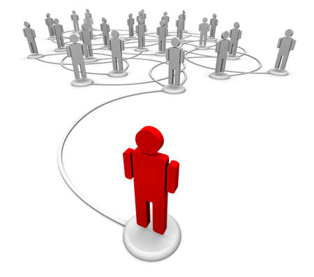 Icon people linked by communication lines that start from one red person out in front of the crowd.