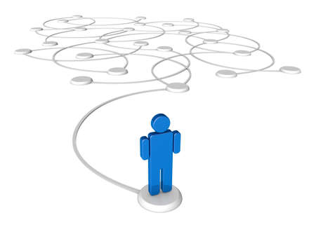 connection: Icon person linked by communication lines that start from one point and link out. Stock Photo