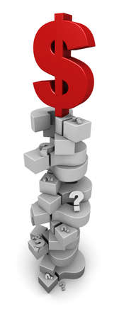 3D illustration of red dollar symbol sitting on top of a tall pile of question marks. Stock Illustration - 11101299