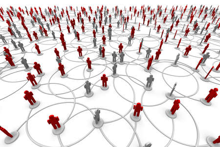 3D illustration of people linked to a network.  Standard-Bild