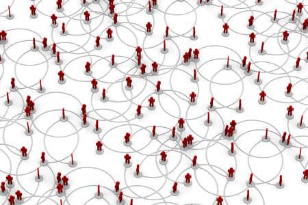 Illustration 3D de personnes li�es � un r�seau.