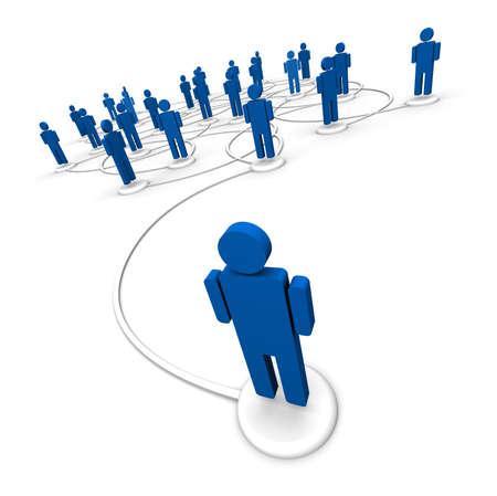 3D illustratie van icoon mensen die met elkaar verbonden door communicatie lijnen die van de ene persoon begint in de voorkant van de menigte. Stockfoto