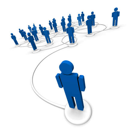 3D illustration of icon people linked by communication lines that start from one person out in front of the crowd.