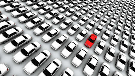 Hundreds of generic cars. The mystery car is red. DOF, focus is on red car. Stock Photo