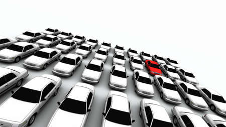 Forty generic cars. The mystery car is red. DOF, focus is on red car.  Stock Photo
