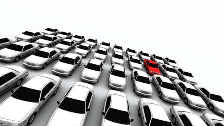 Veertig generieke auto's. Het mysterie auto is rood. DOF, focus ligt op rode auto.