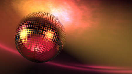 High rez raytraced 3D rotating Disco Ball with lights on ceiling.