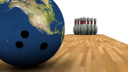 bowling strike:  3D render of Earth bowling ball and pins in background.