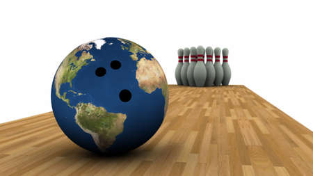 bowling alley: 3D render of Earth bowling ball and pins in background.