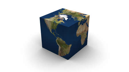 flat earth: 3D render of Earth cubed.