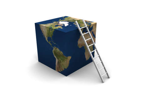 outside the box: 3D render of Earth cubed with ladder.  Stock Photo