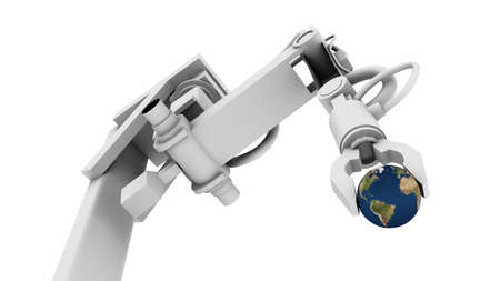 High resolution raytraced 3D render of Earth globe in the grip of a robot