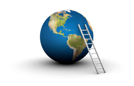 3D illustration of ladder leaning against Earth Stock Photo
