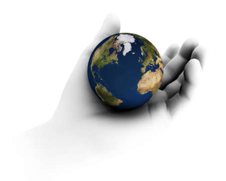 High resolution raytraced 3D render of Earth being held in hand.