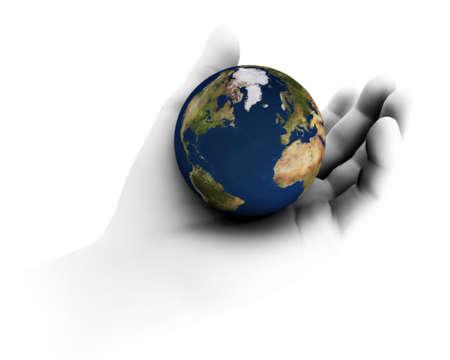 el mundo en tus manos: Alta resoluci�n raytraced render 3D de la Tierra que se celebra en la mano.