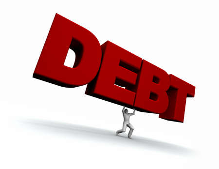 emotional stress: Illustration of a man lifing the word DEBT.