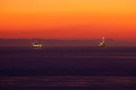 Two large Pacific Ocean oil rig drilling platforms off the southern coast of California. photo
