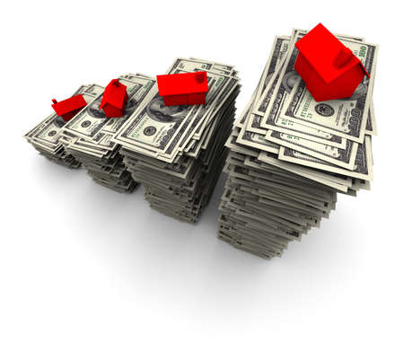 High resolution 3D illustration of red house sitting on stack of one thousand 100 dollar bills.  illustration