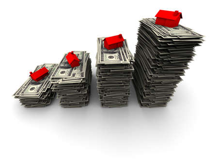 thousand: High resolution 3D illustration of red house sitting on stack of one thousand 100 dollar bills.  Stock Photo