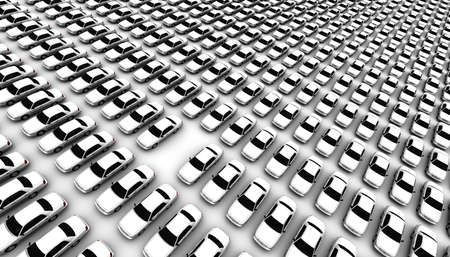 hundreds: Super high resolution 3D render of hundreds of generic cars, one is missing, DOF, focus is on missing car.