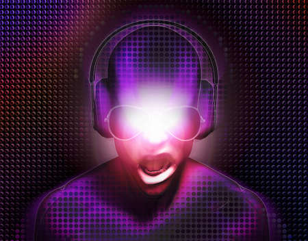 DJ with headphones - Created from 3D models and lots of painstaking hand paintingcompositing.  photo