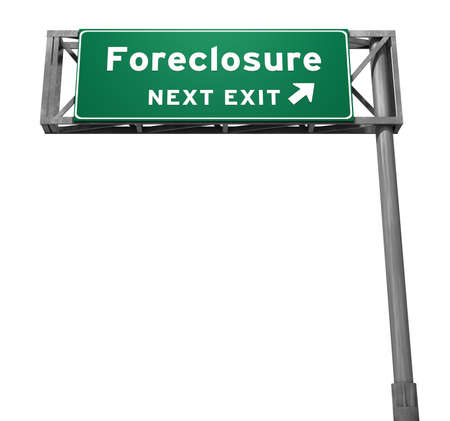 singular: Singular version isolated on white. Super high resolution 3D render of freeway sign, next exit... Foreclosure.