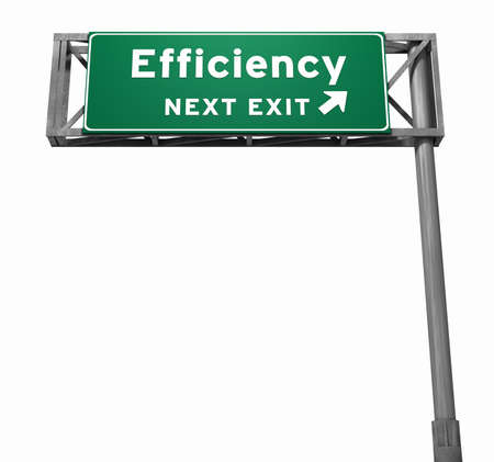 banding: Freeway sign, next exit... Efficiency! Green part of sign has slight texture to avoid and banding issues.  Stock Photo