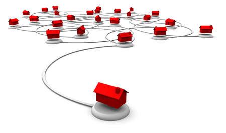 Hochauflösende 3D-Darstellung von roten Häusern in einem Netzwerk miteinander verbunden. Standard-Bild - 11159781