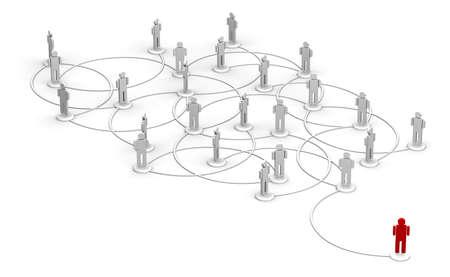 Hoge resolutie 3D illustratie van een rode persoon gekoppeld aan een netwerk van mensen.