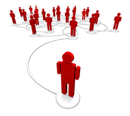 High resolution 3D illustration of icon people linked by communication lines that start from one person out in front of the crowd.