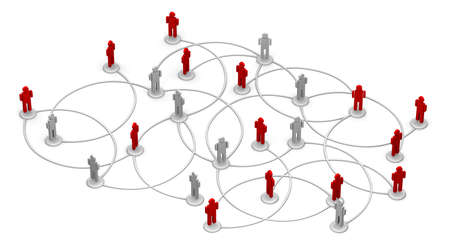 High resolution 3D illustration of people linked to a network.  illustration