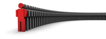 Concept 3D illustratie van een boog van icoon mensen staan in een swooping lijn, een persoon is rood aan de voorkant.