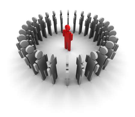 Concept 3D illustratie van een cirkel van pictogram mensen staan in een cirkel, een persoon is rood in het midden.