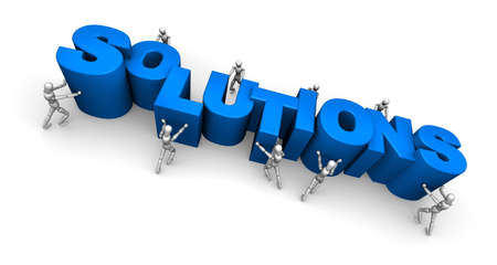 things that go together: Team of People Making the Word Solutions Stock Photo