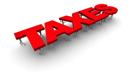 3D Illustration of People Carrying the word Taxes