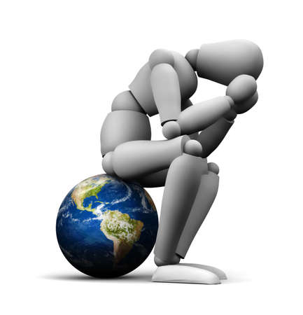 3D illustration of person sitting on Earth globe holding head in hands.