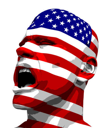 sgomento: L'uomo Bandiera USA Yelling