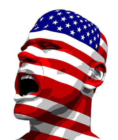 Vlag van de VS Mens Schreeuwen Stockfoto